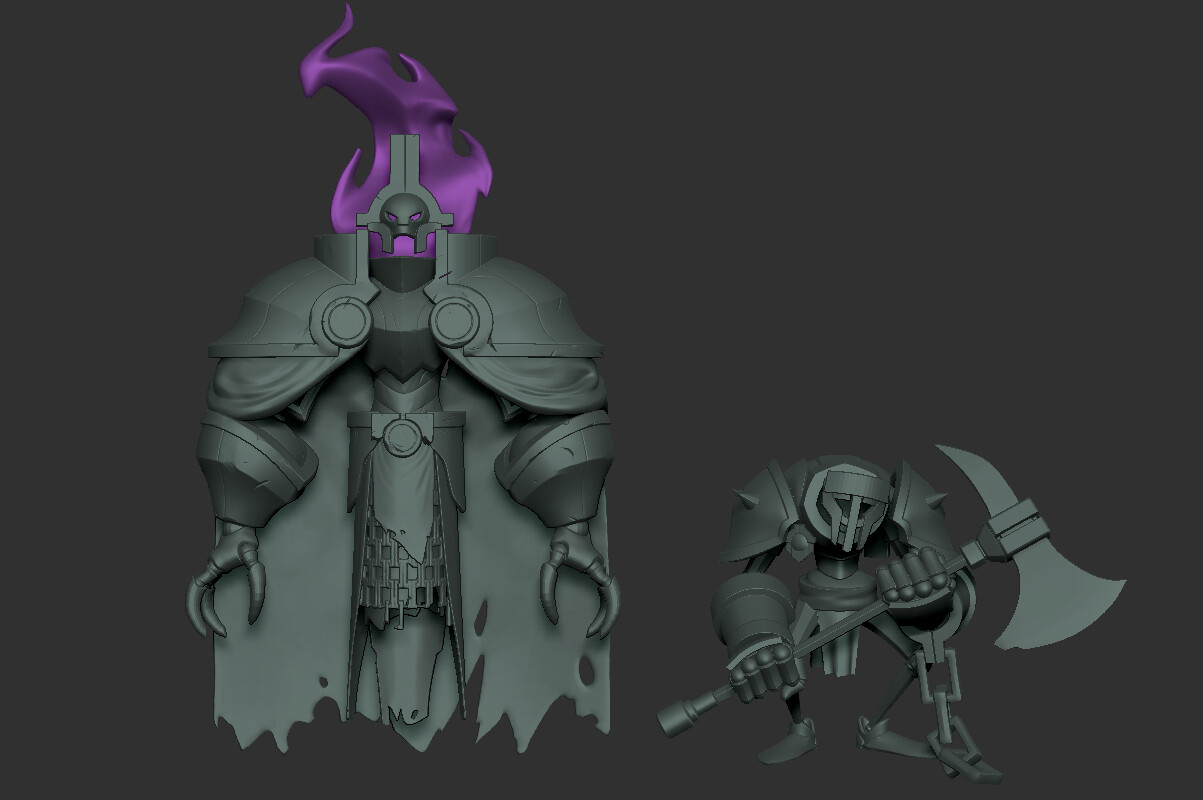 High poly ZBrush sculpt of Geist with his minion.