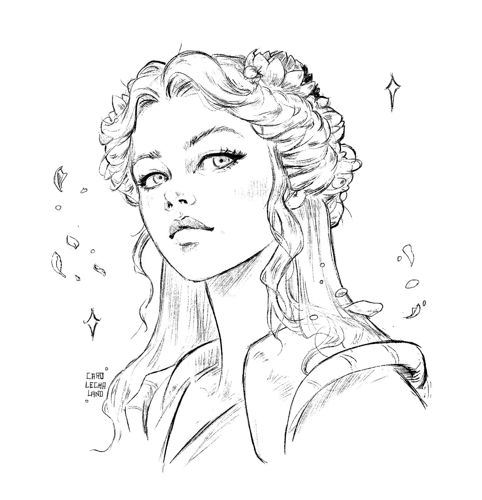 Sketch Medieval Princess for visual novel
