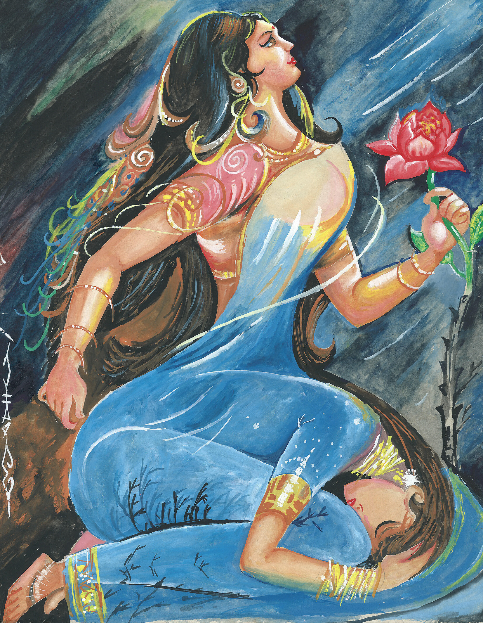 Women Empowerment - My first poster color painting when I was 12-15 years age... it is a replica of Vaddadi Papayya's Swathi magazine cover page.