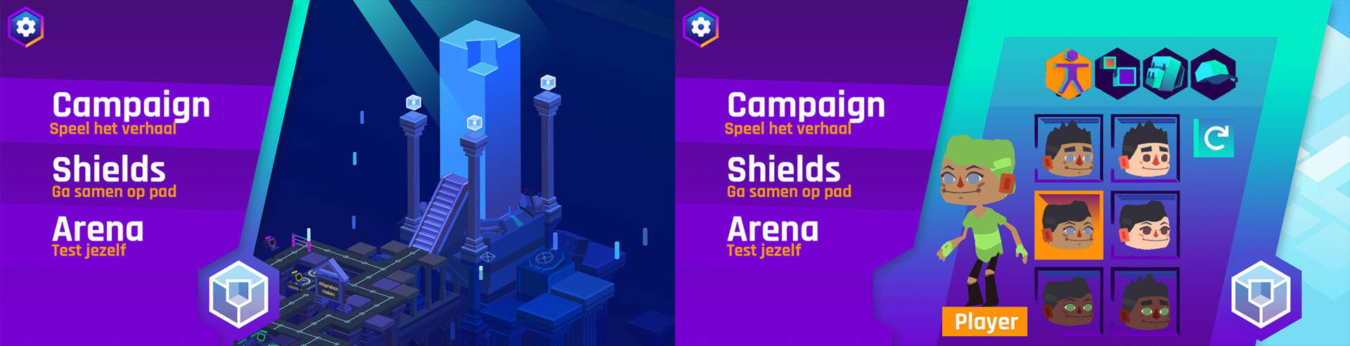 Mobile UI concepts.  Characters and game assets are taken from the game.