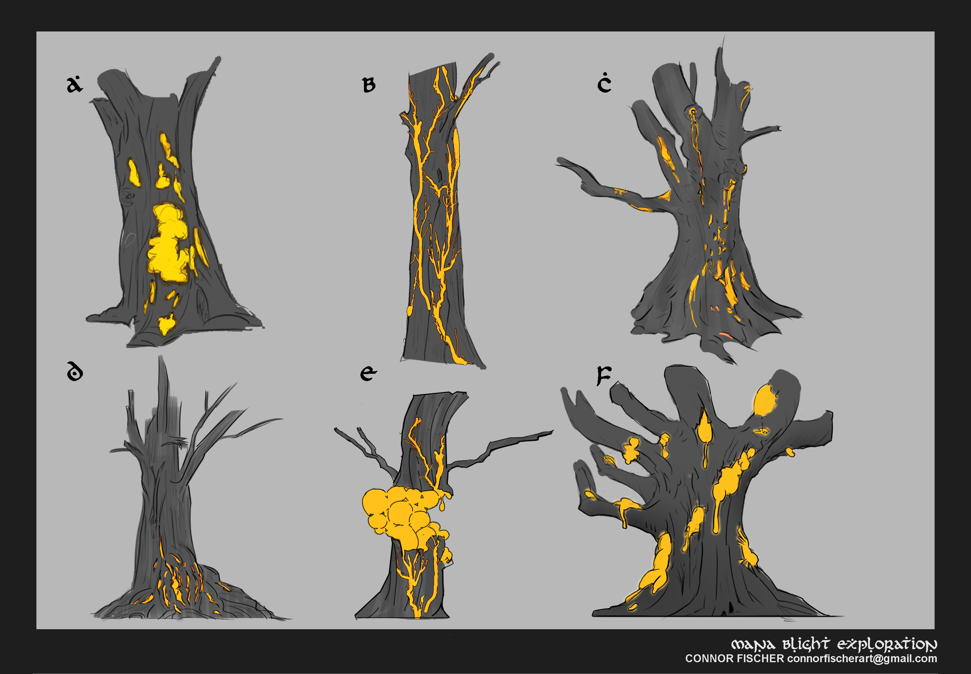early sketches, I wanted a contrast between the bark and the disease.