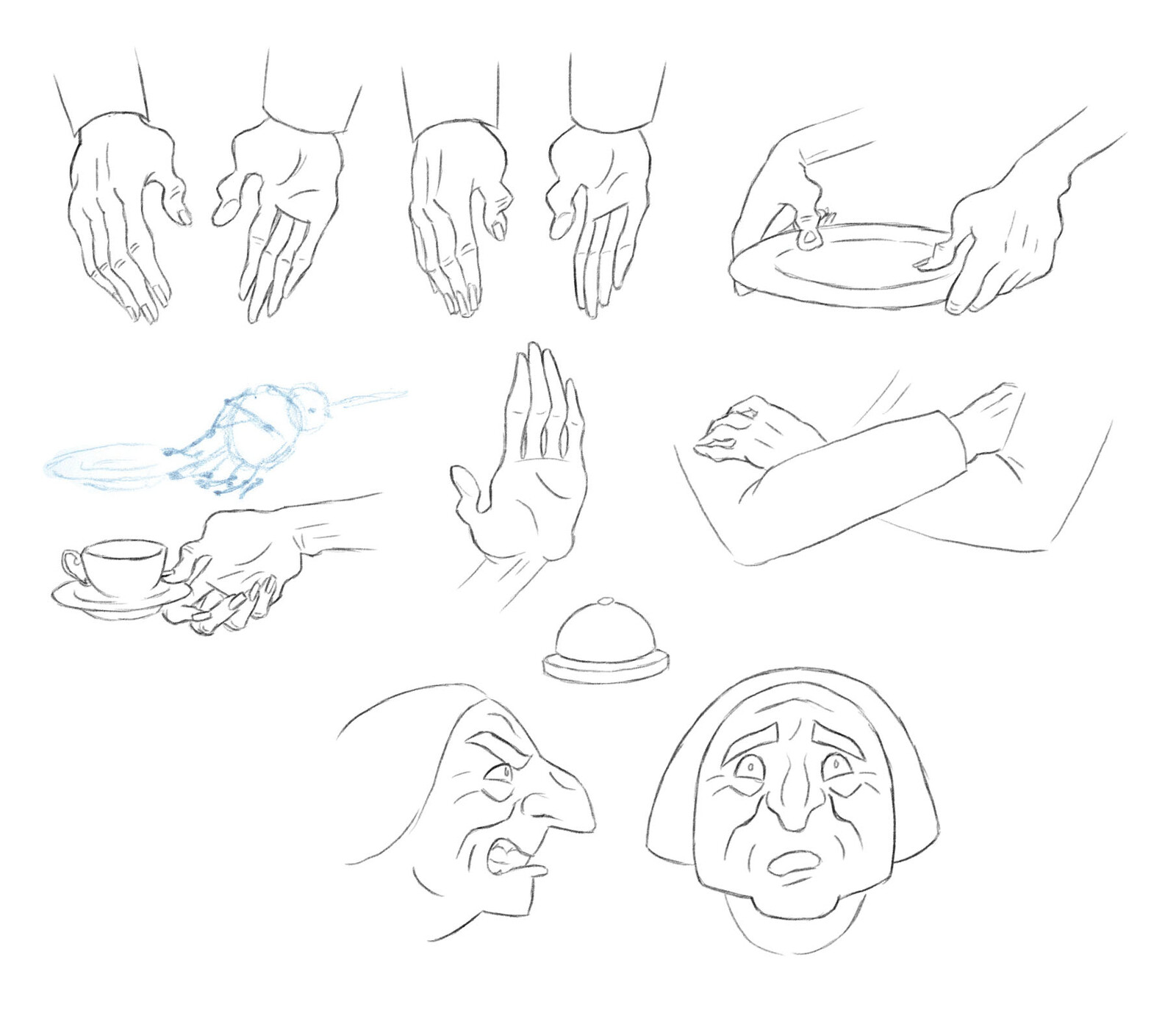 Grandma hands and expressions.