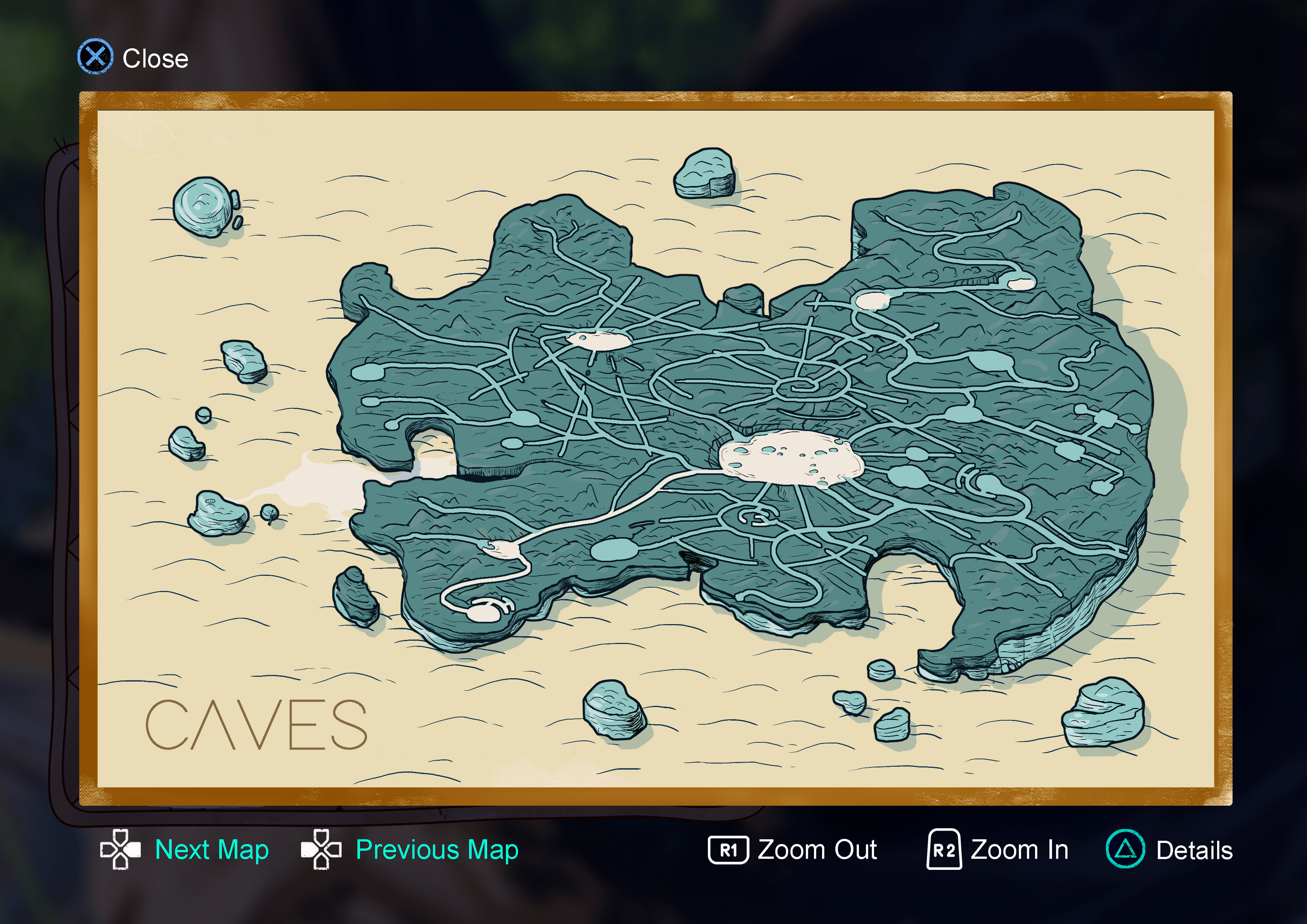 """I didn't want to limit the map to the surface so I pictured the oasis  being similar to a table-top mountain (or """"Tepuy"""" as I know them) with a network of caves under the surface"""