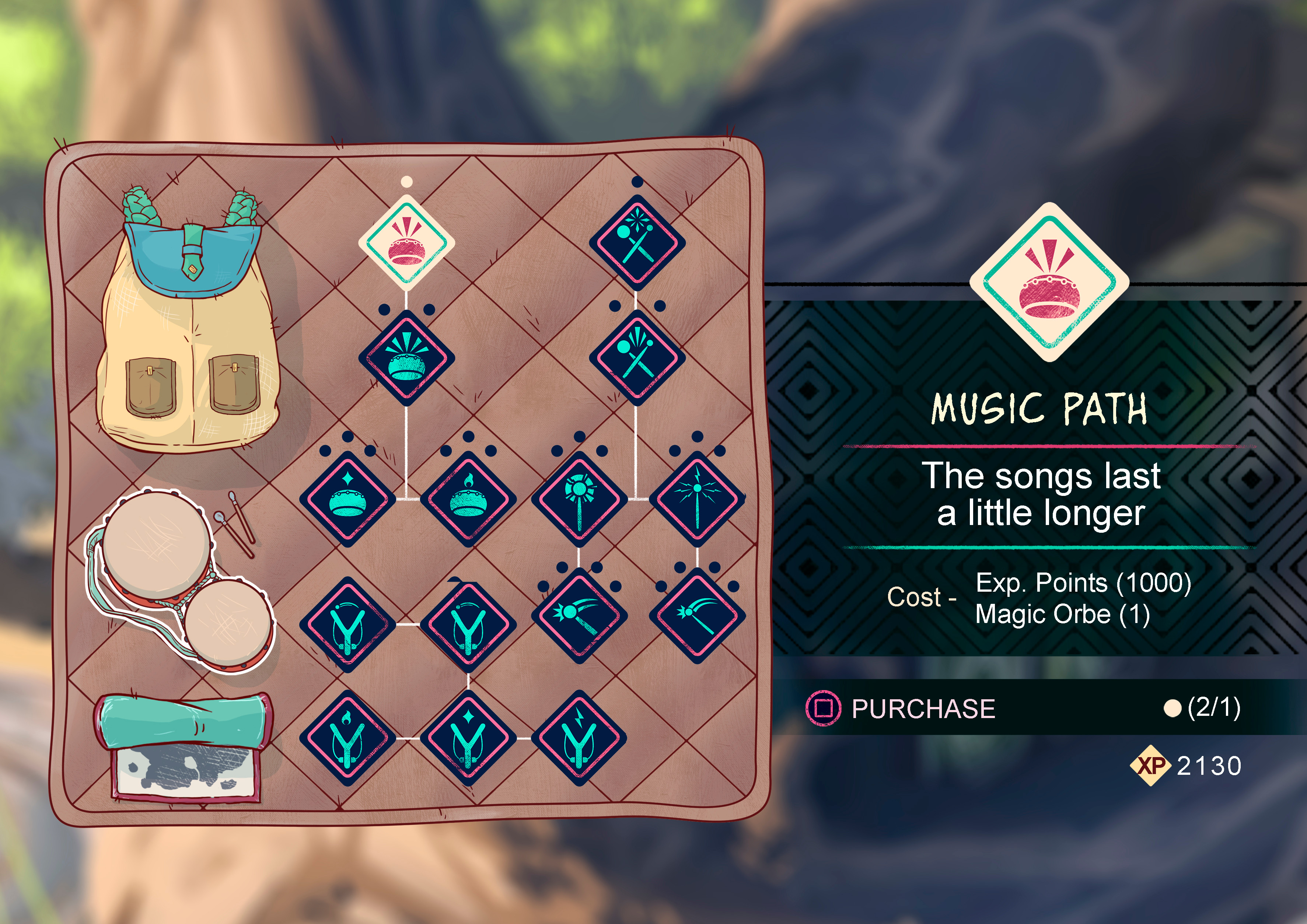I imagined a gameplay mechanic were different combinations of sounds, using the drums of the character, would build a  specific melody with different properties  something similar to the special powers from Patapon