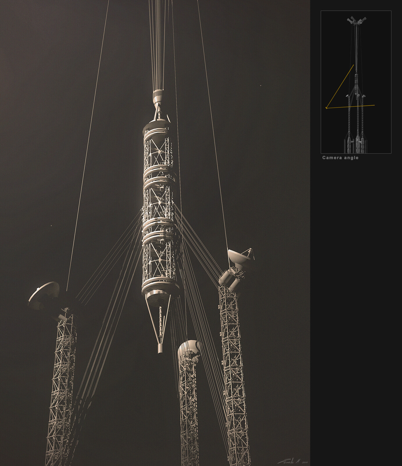 Notice the three basic antennas that ended up being the top of the structure in the final version.