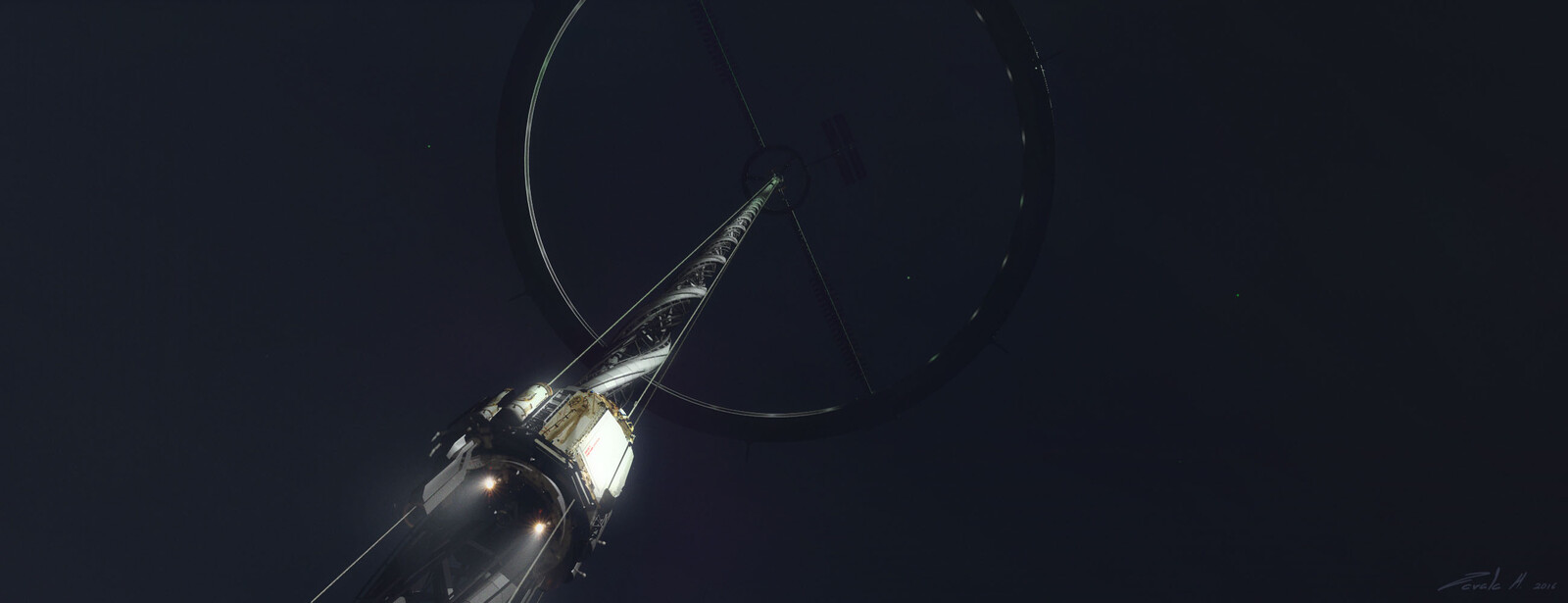 Space elevator ring early concept (notice the spiral space elevator)
