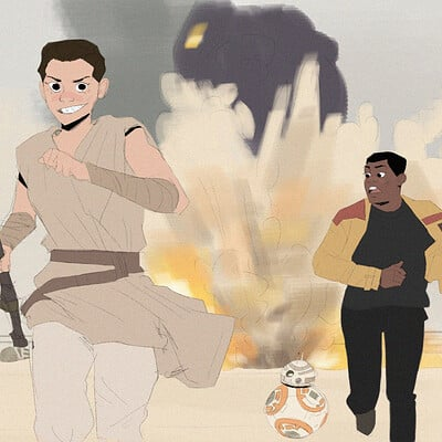 Rey, Finn, and BB8