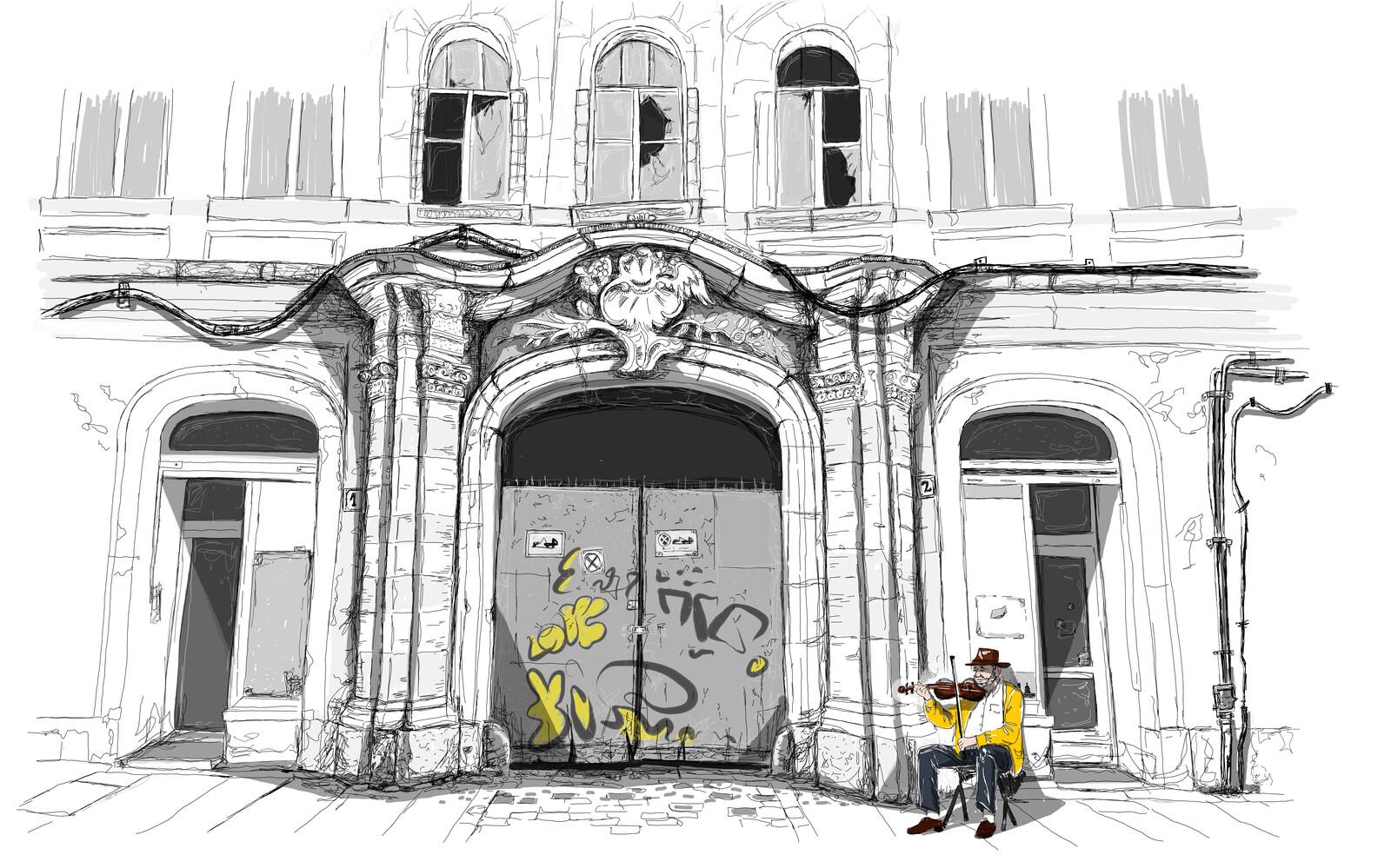 Street Music, Urban Sketching