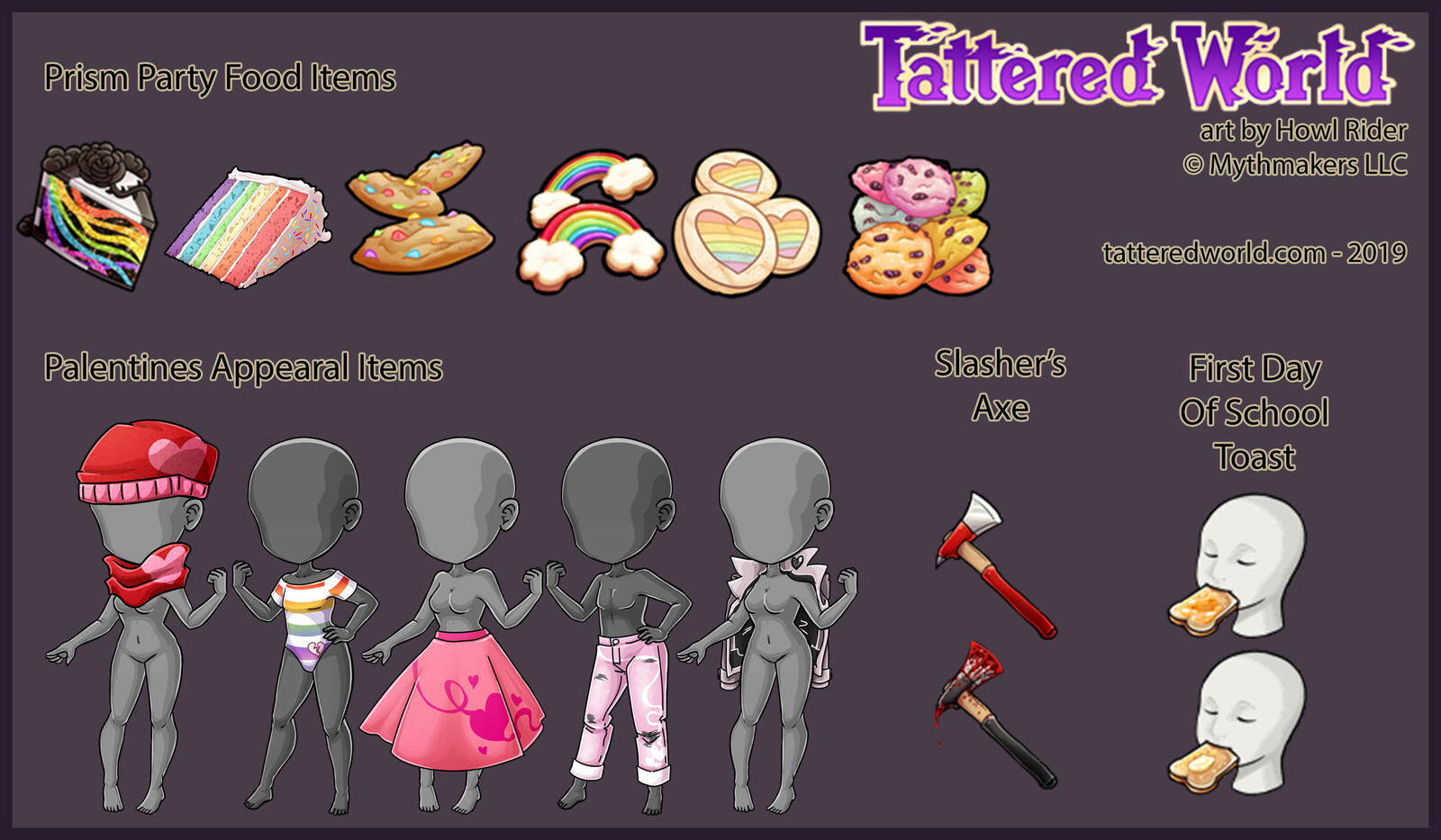 Rainbow themed food and valentines apparel.