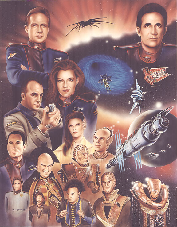 A Babylon 5 collage of characters
