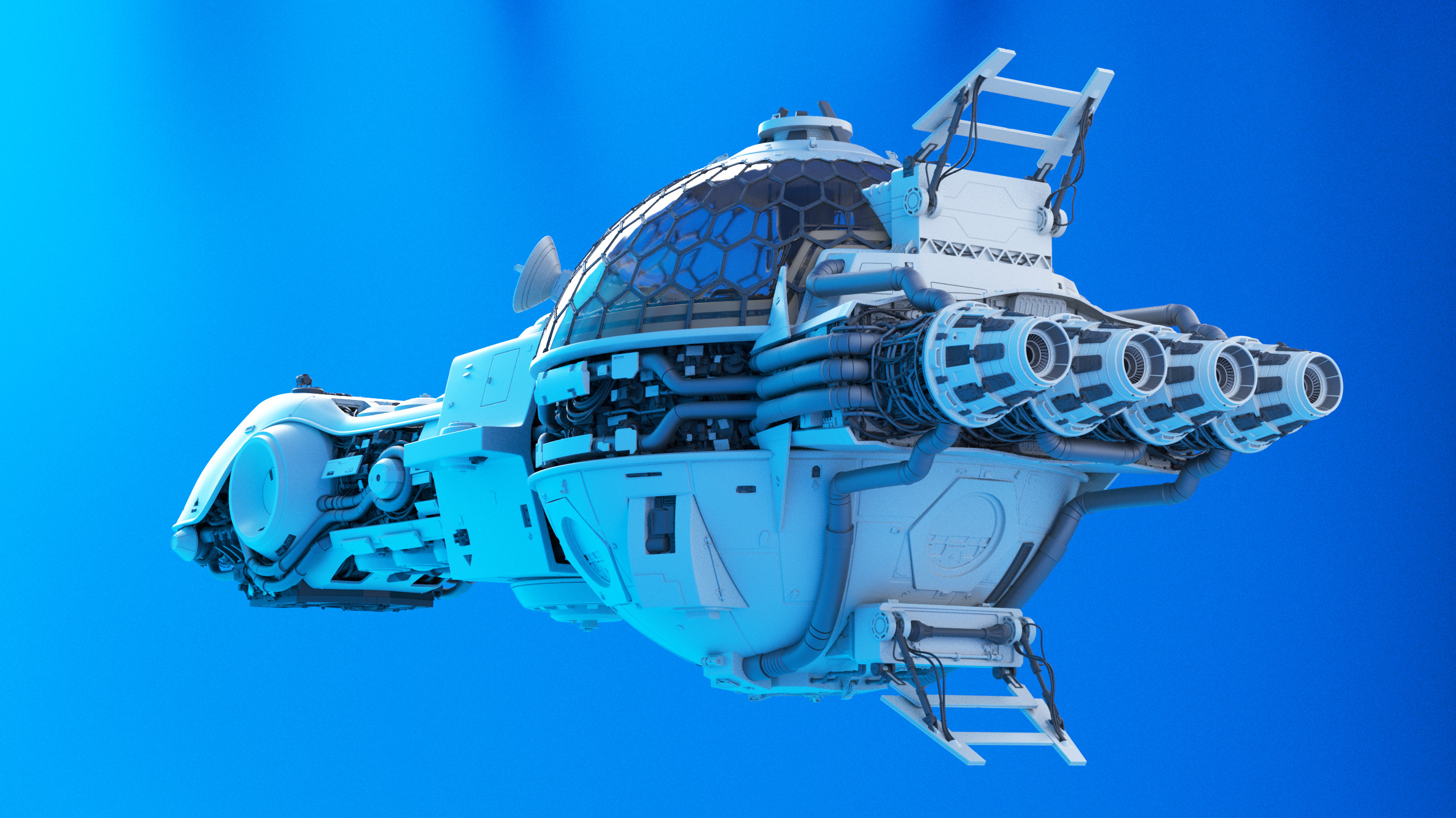 My friend Mathieu Navarro helped me modeling this spaceship. He mostly worked on the exhausts.
