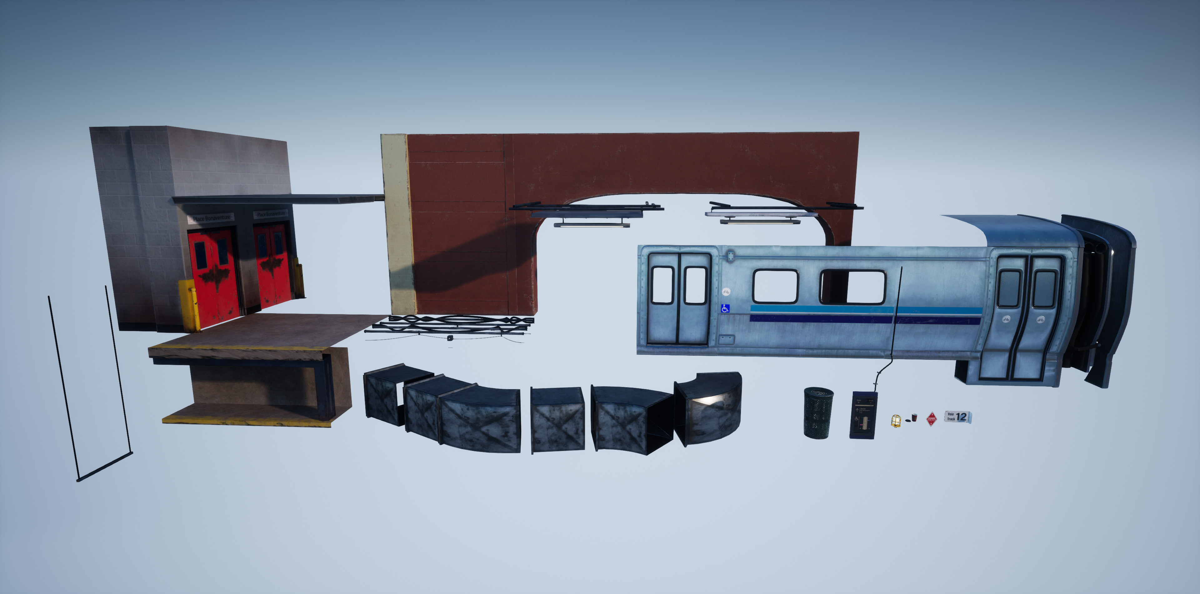 Overview of all the static meshes used in the scene