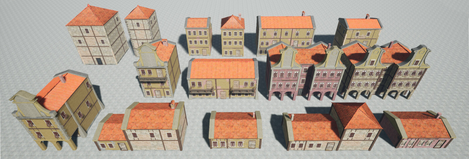 Buildings made with modular set, materials use Vertex Painting to build more difference between the same models. For further variety I made 10 different stains and dirt decals.