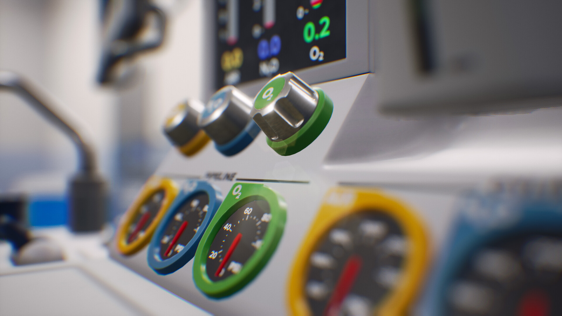 The anesthesia machine was designed from scratch to allow for better usability with VR controllers. I was responsible for concepting the machine so it would be easy to use in VR.