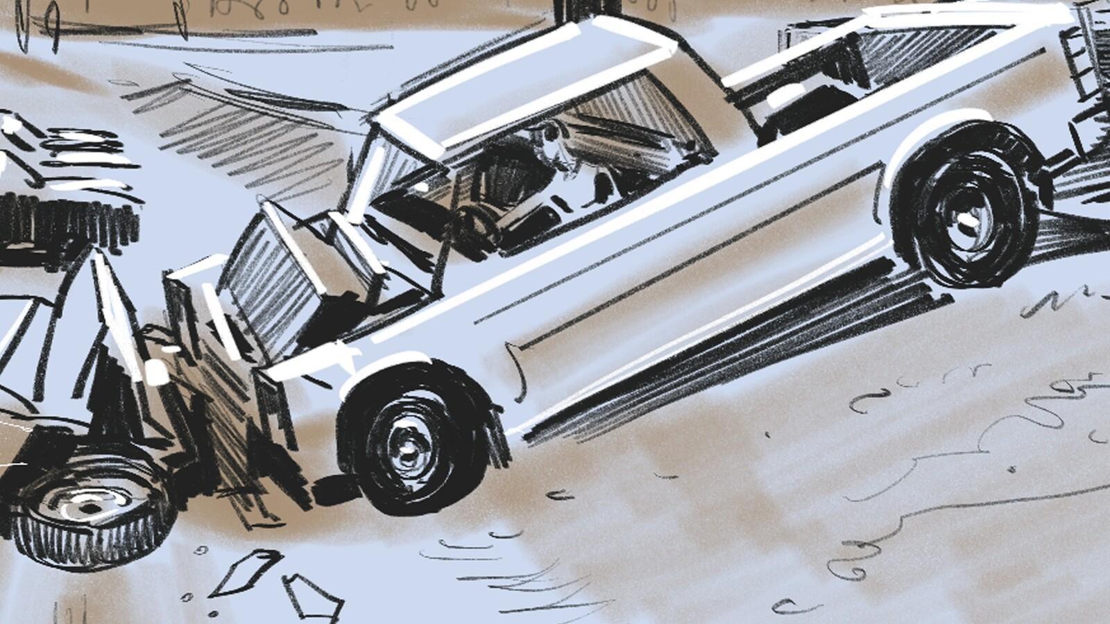 FRAME #37 -LS-Side, Profile-Floating: Presses gas. Truck rolls back until HORN HONKS.