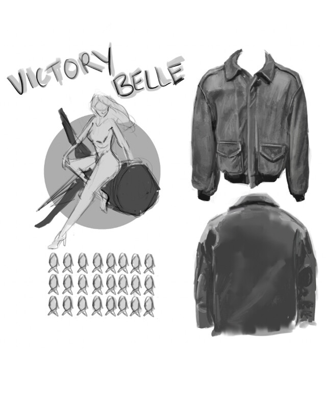 """Leather jacket study and """"Victory Belle"""" rough sketch"""