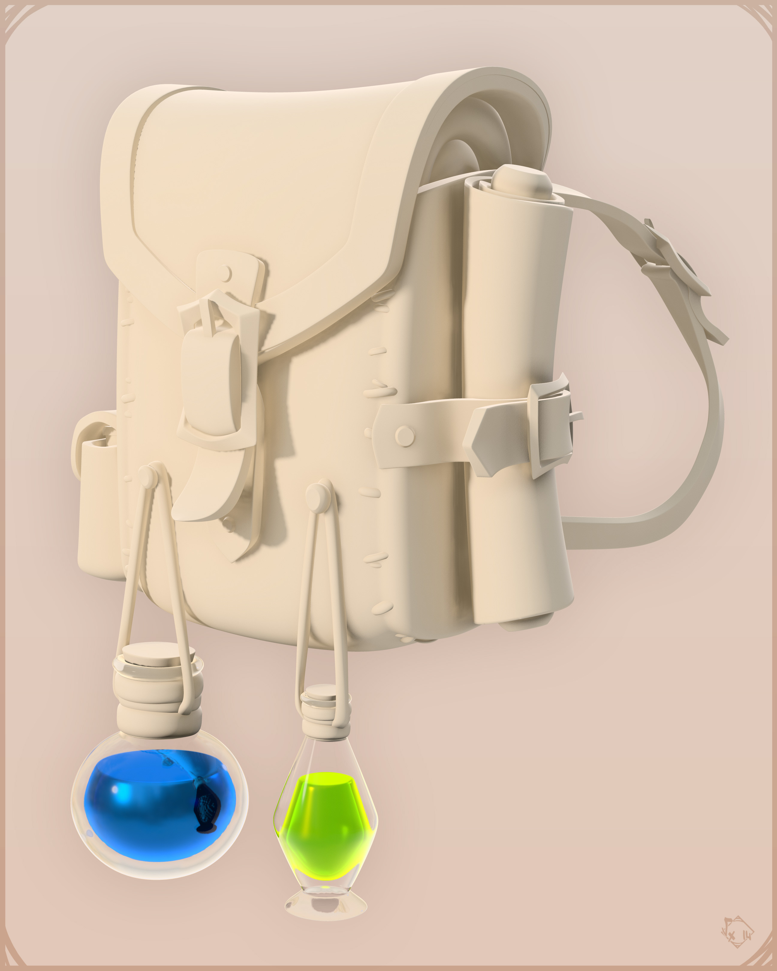 HighPoly Sculpt of Maewenn - BackPack Details