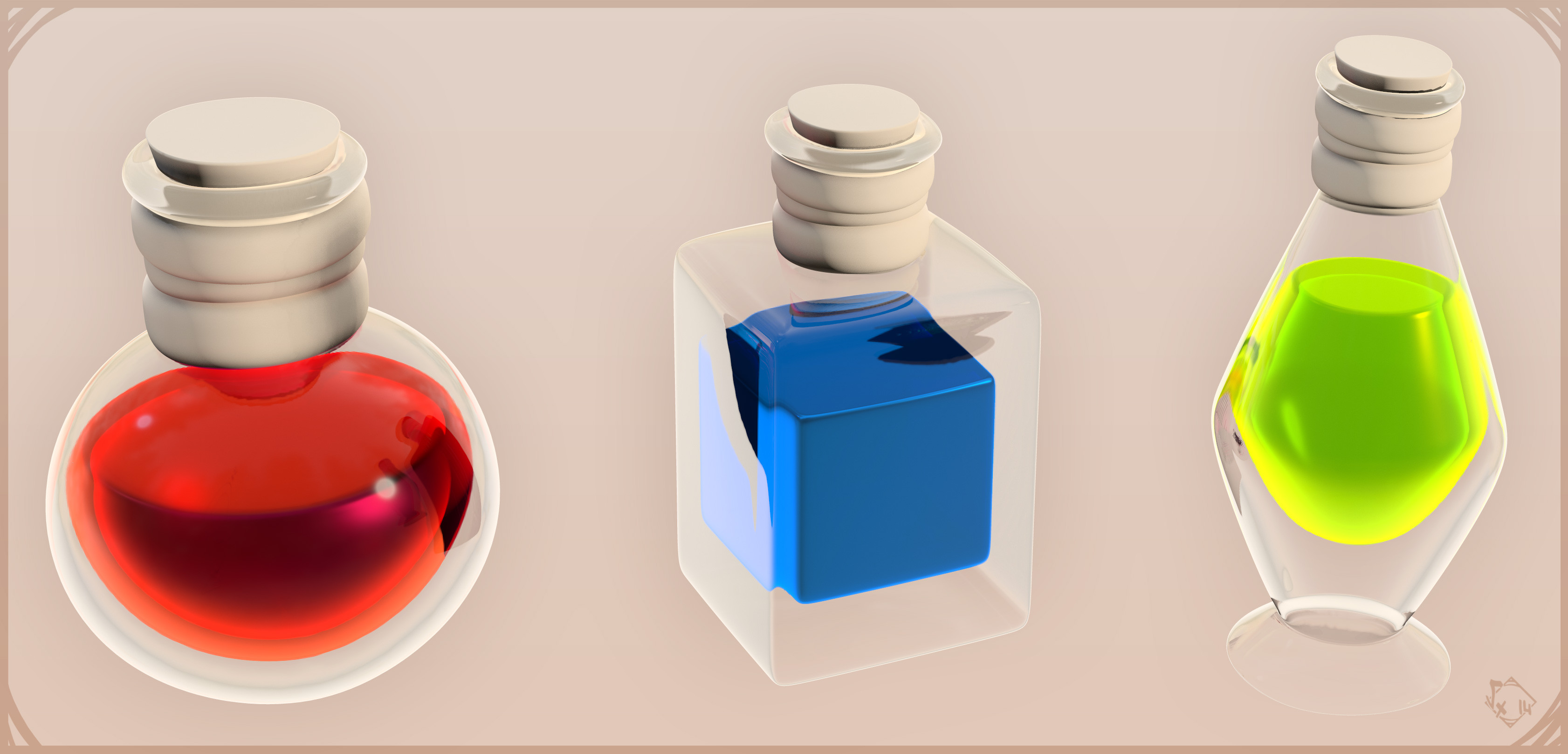 HighPoly Sculpt of Maewenn - Potions (Yeah, really inspired from Diablo 1 ♥)