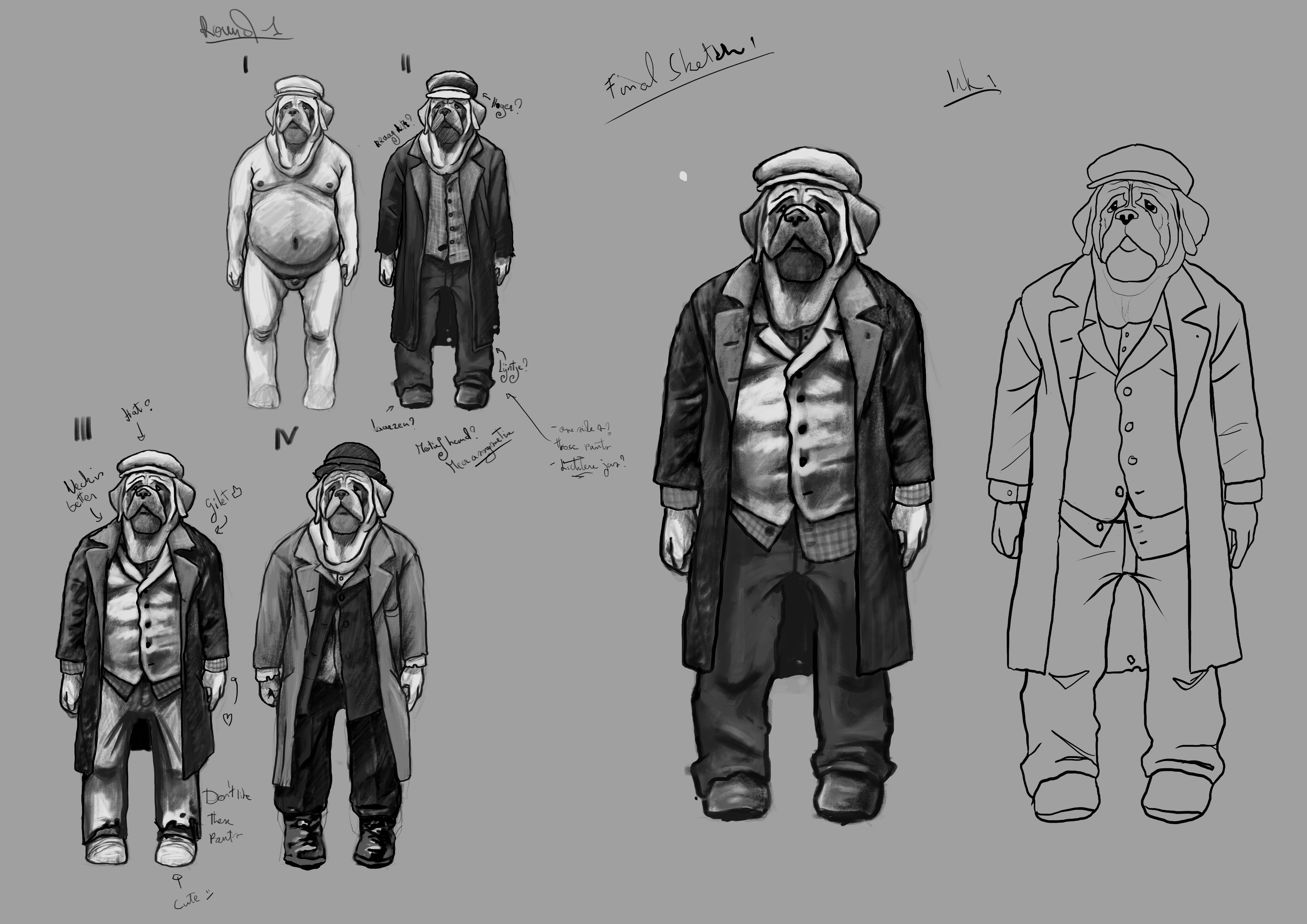Sketches, from the body base to the final line art.