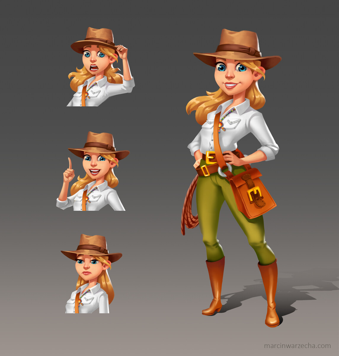 Indiana Jane - mobile game stylized character design