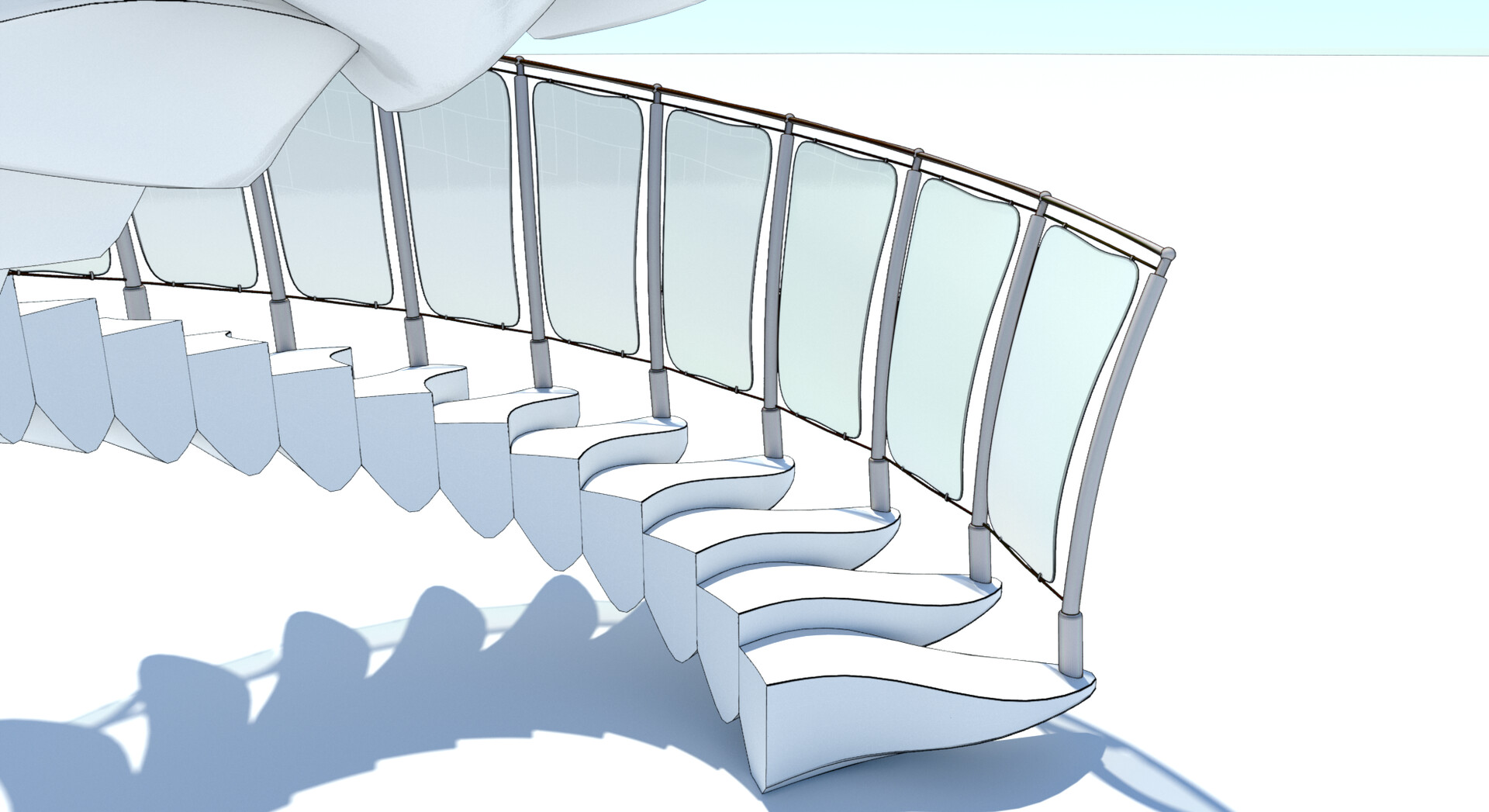 Procedural spiral stairs - each element type is contained in a separate source mesh, which is then procedurally replicated and transformed; some of the geometry is also procedurally adjusted on-the-fly for best results - bottom close up - cel edge shader