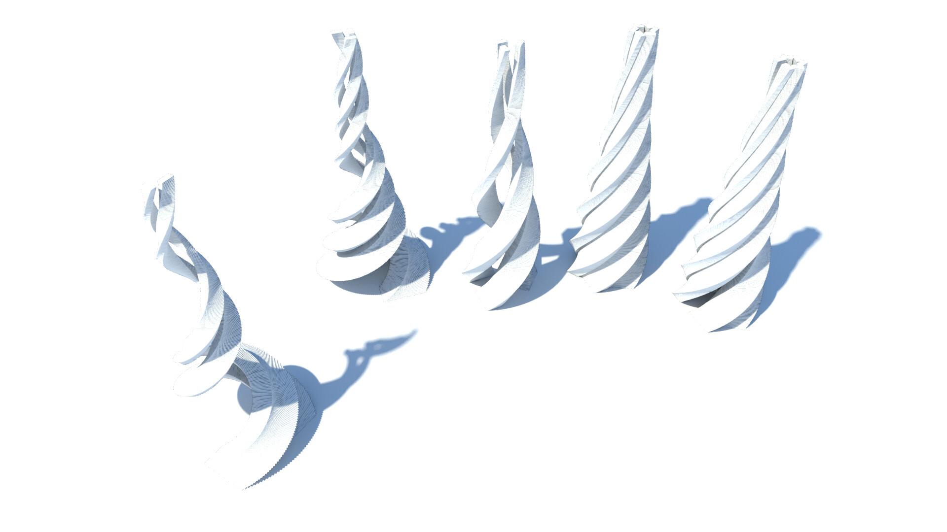 Procedurally-generated spiral towers - bird's eye view