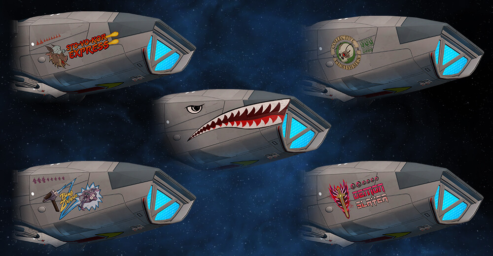 """For the Anniversary bundle, we also created """"nose"""" art for the Defiant. I collaborated with STO's Concept Artist, Hector Ortiz, on these designs."""