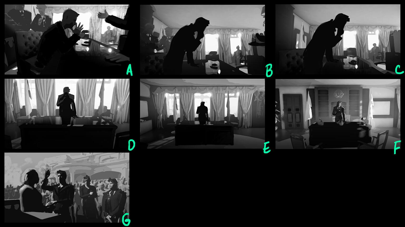 Thumnails exploring different scene ideas