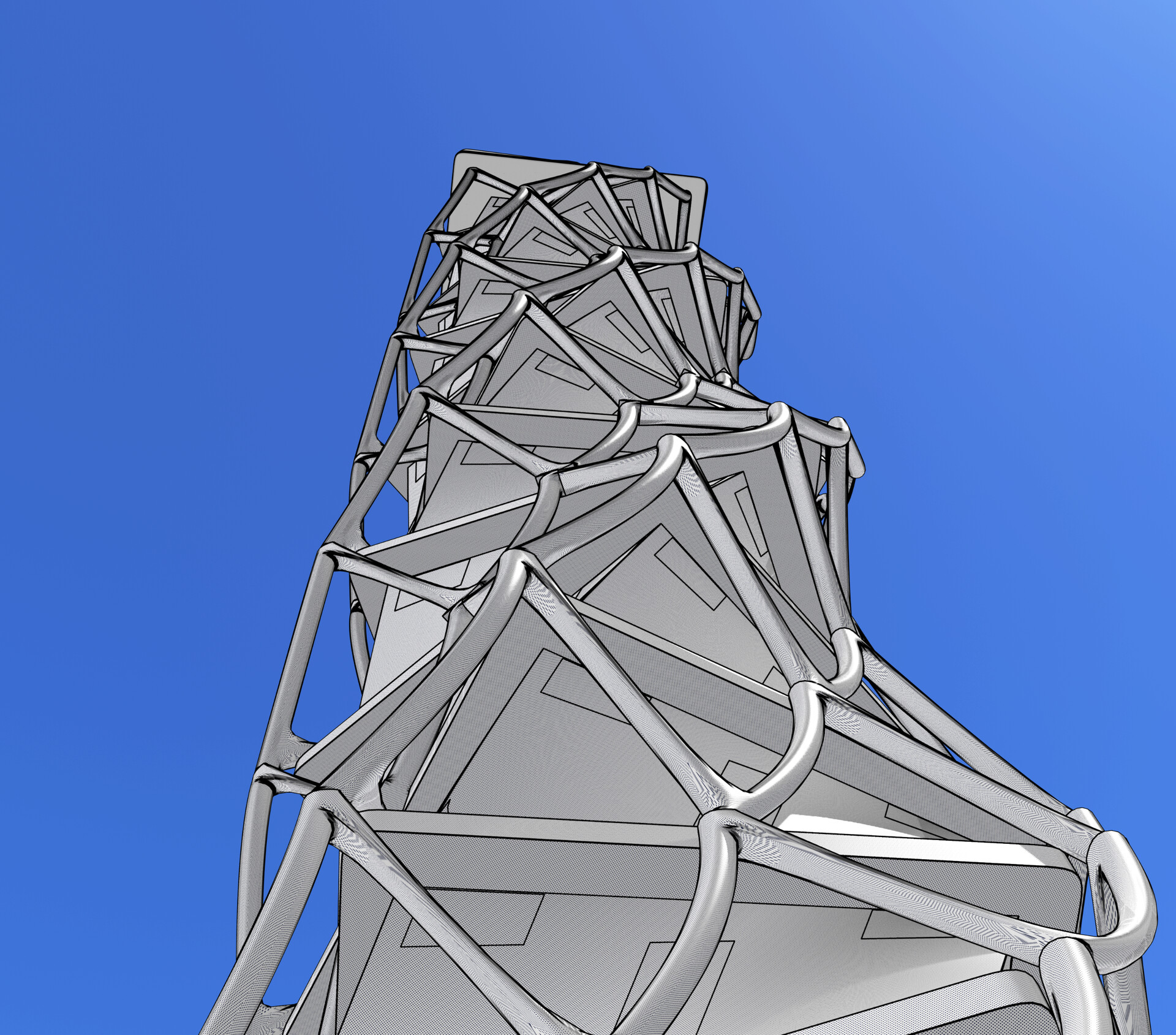Procedurally-generated twisted tower with procedural external structural grid - worm's eye view - cel edge shader