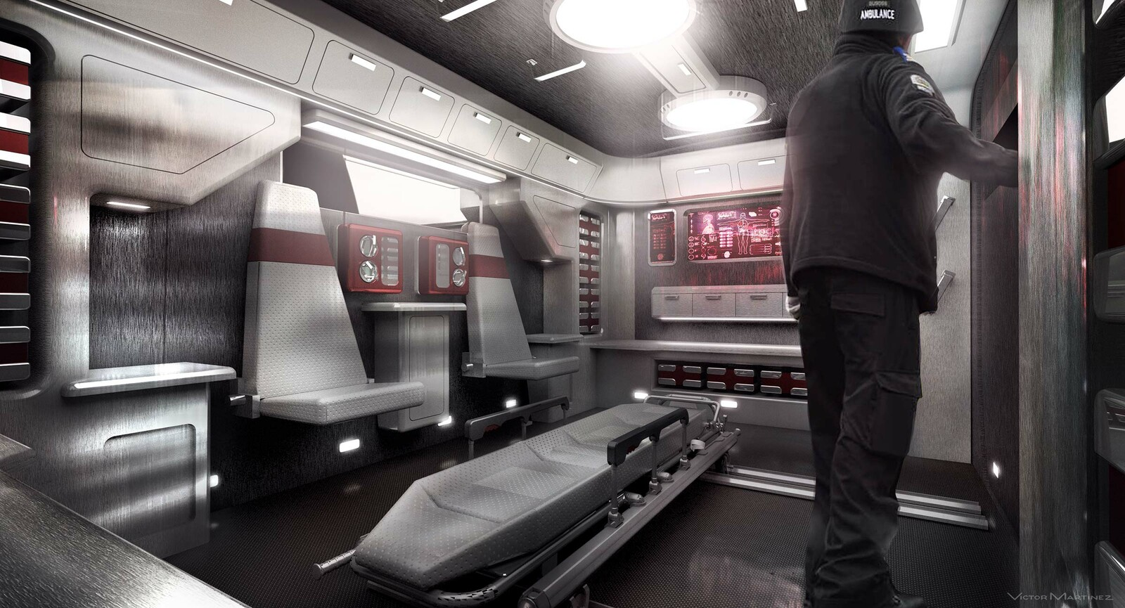 Westworld Autonomous Ambulance (interior) - designed by Victor Martinez