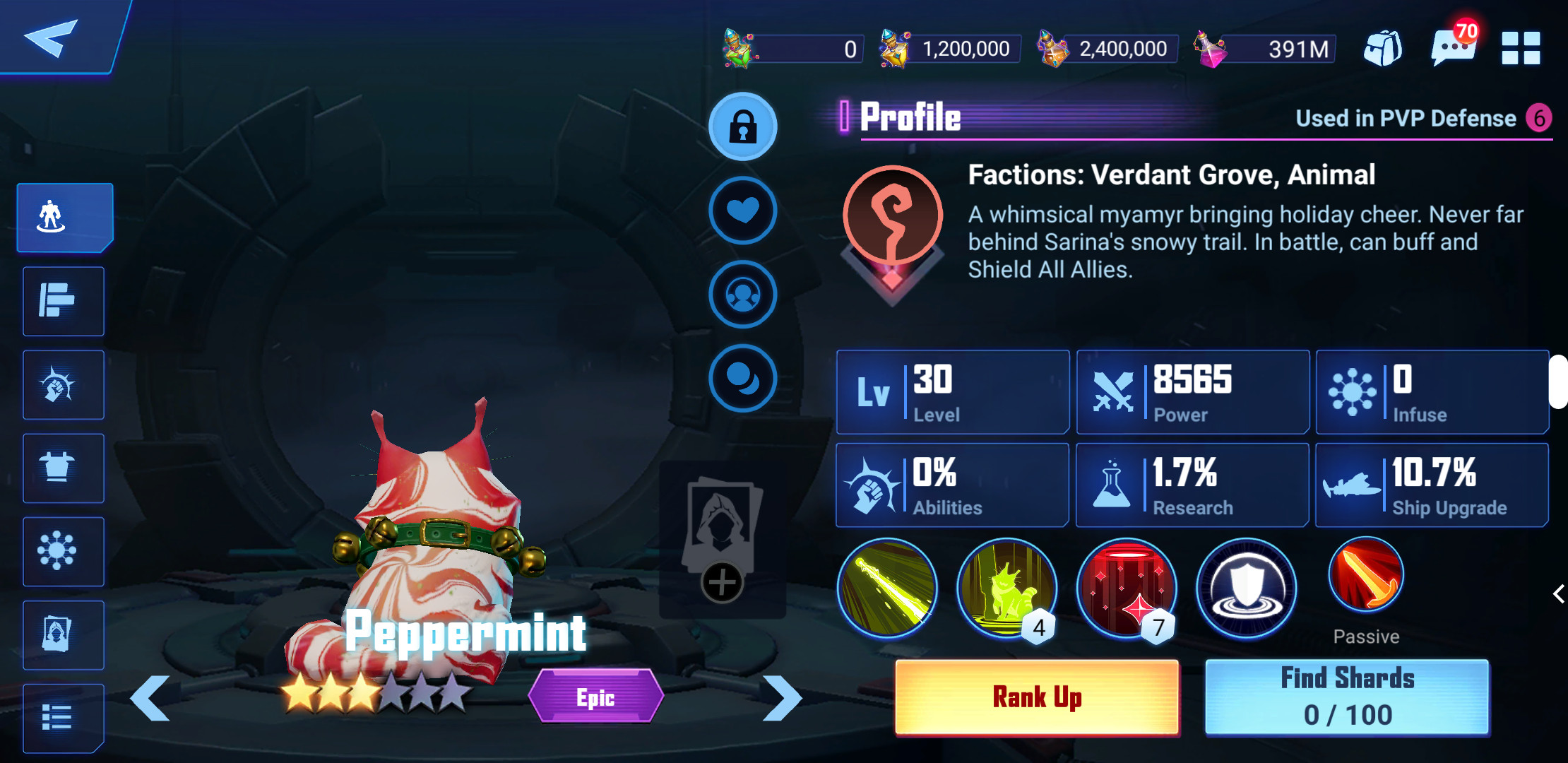 Peppermint in-game character profile