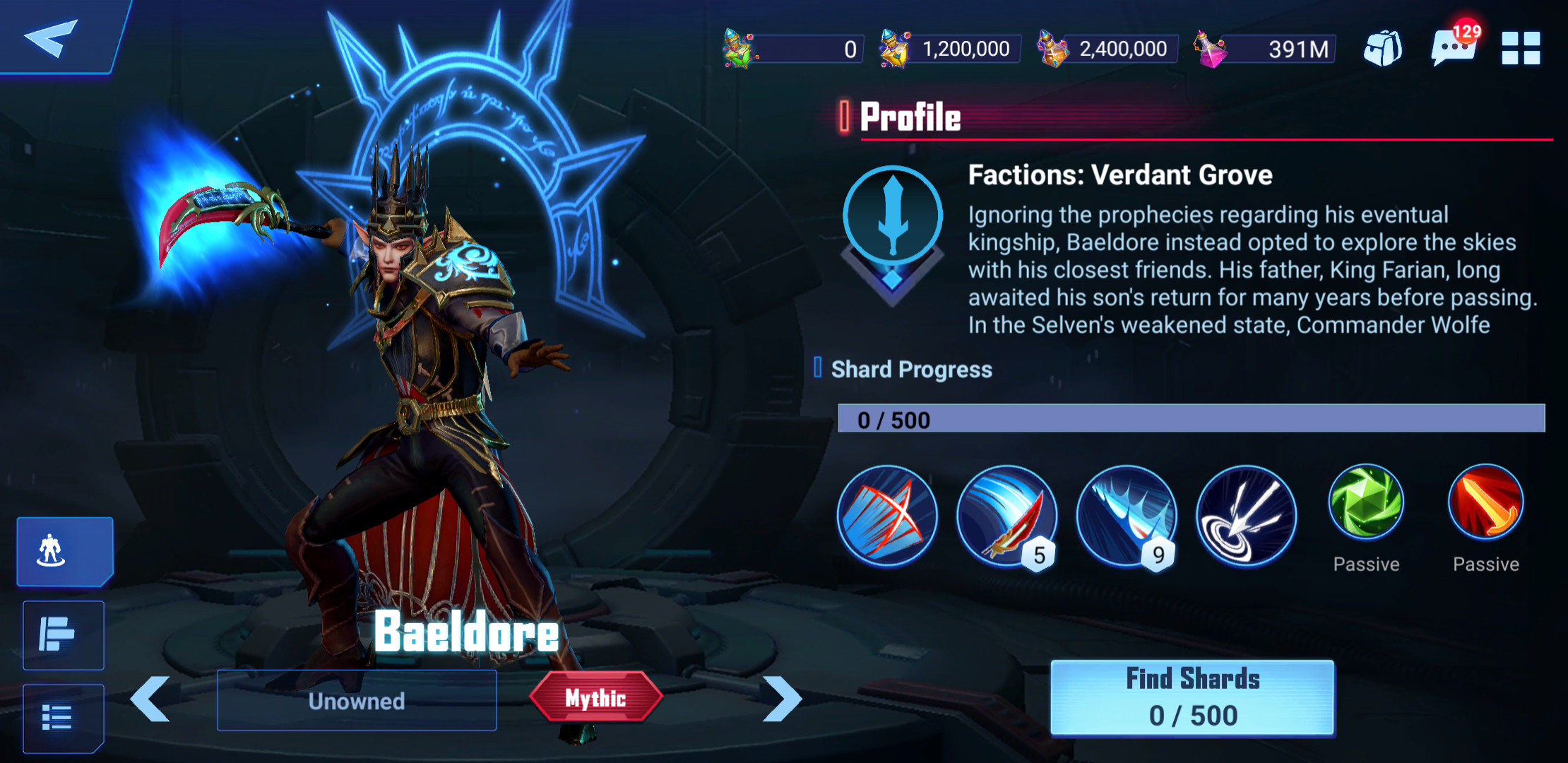 Baeldore's blade in-game character profile shot