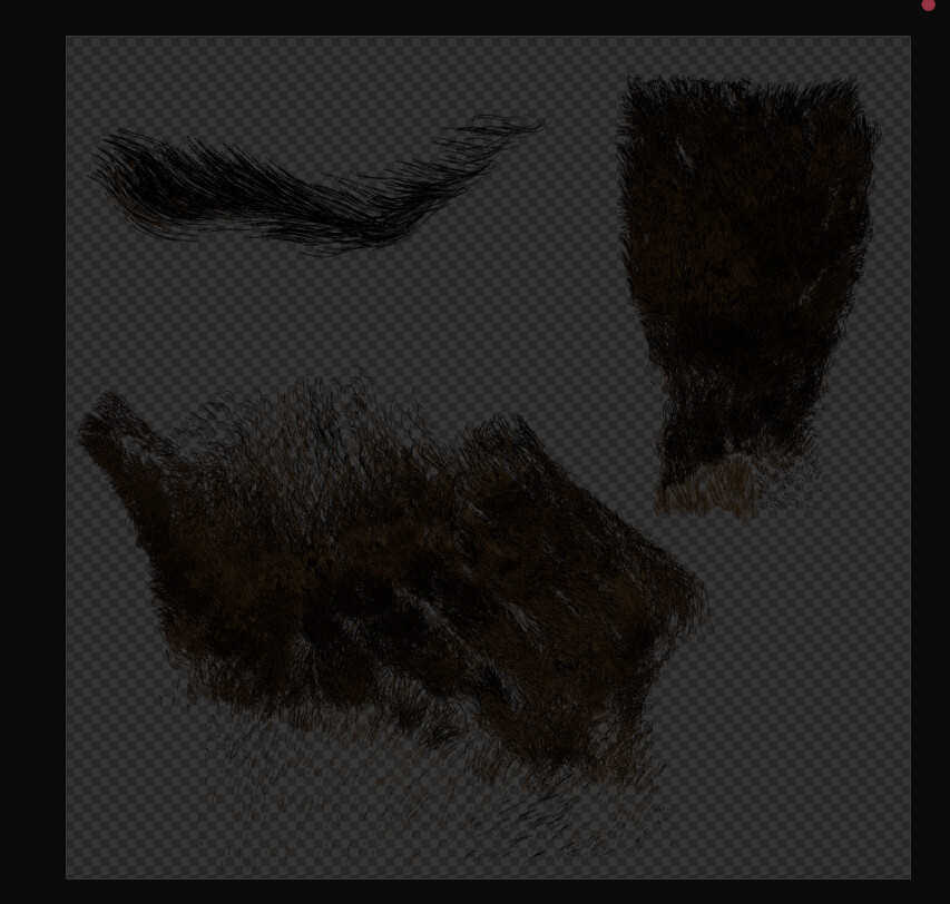 Beard and eyebrow sheet. I groomed the beard and eyebrows and unwrapped the mesh with a shape key using UV space.