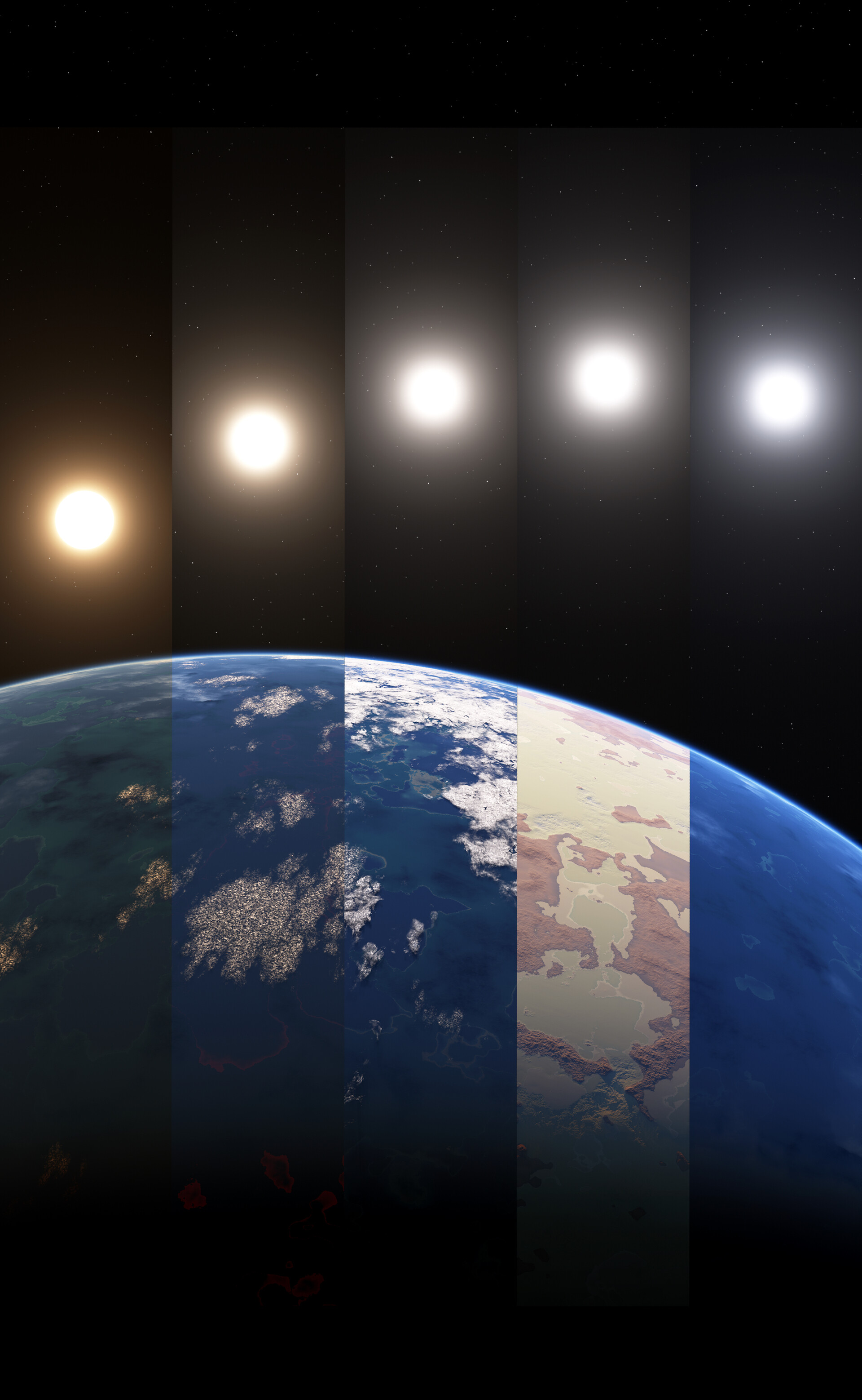 Left to right: Forest, Basalt, Earth-like, Desert, and Ocean. Each gets progressively warmer from left to right due to changing star type.
