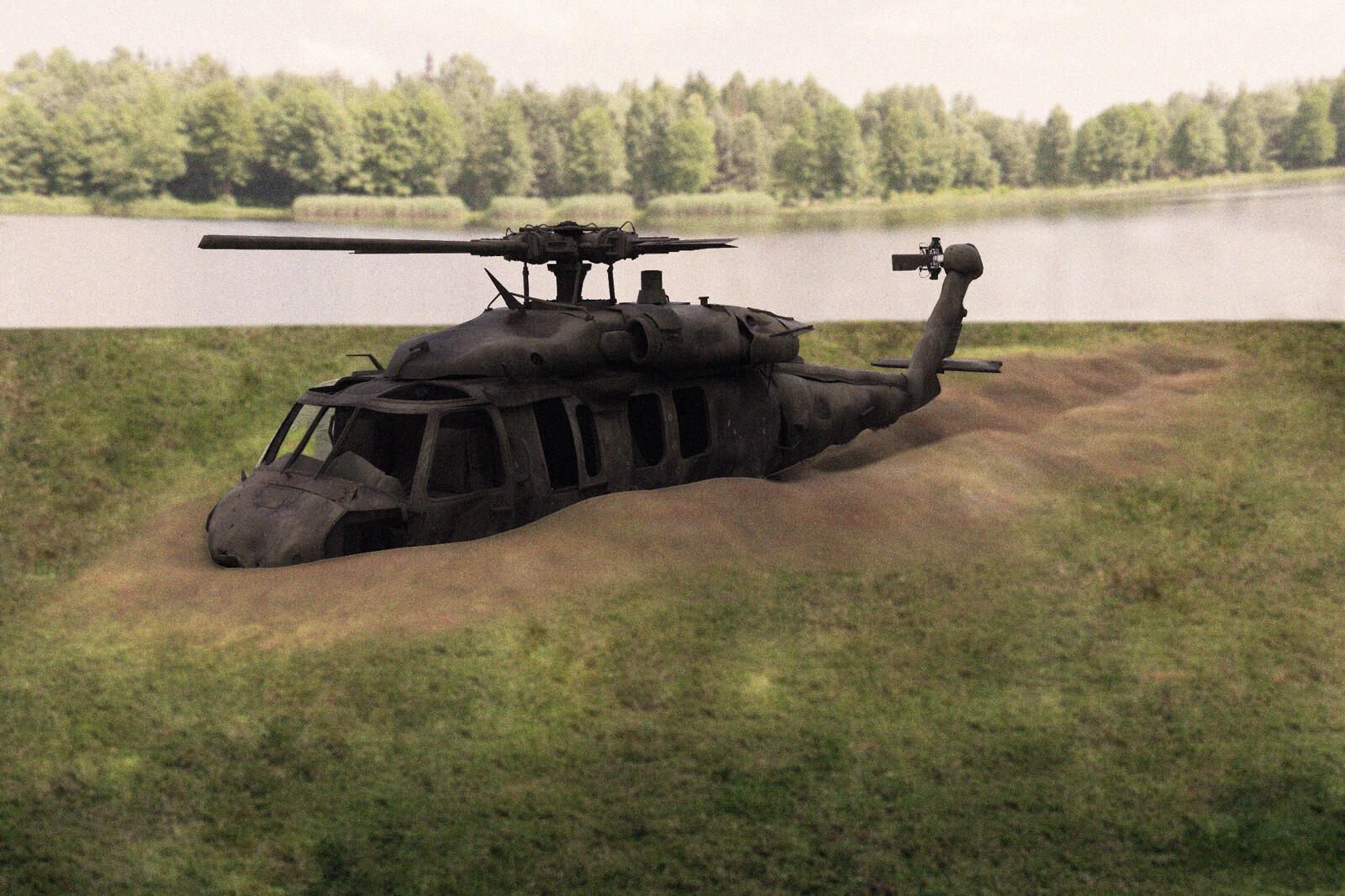 Crashed Black-hawk Helicopter