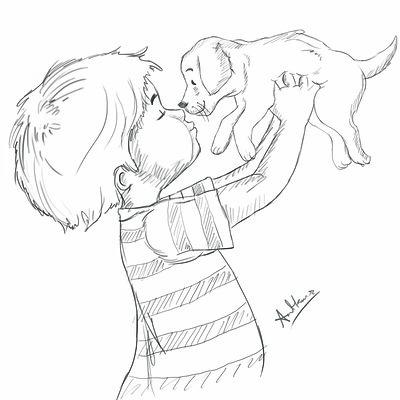 Amit kumar pencil child and dog