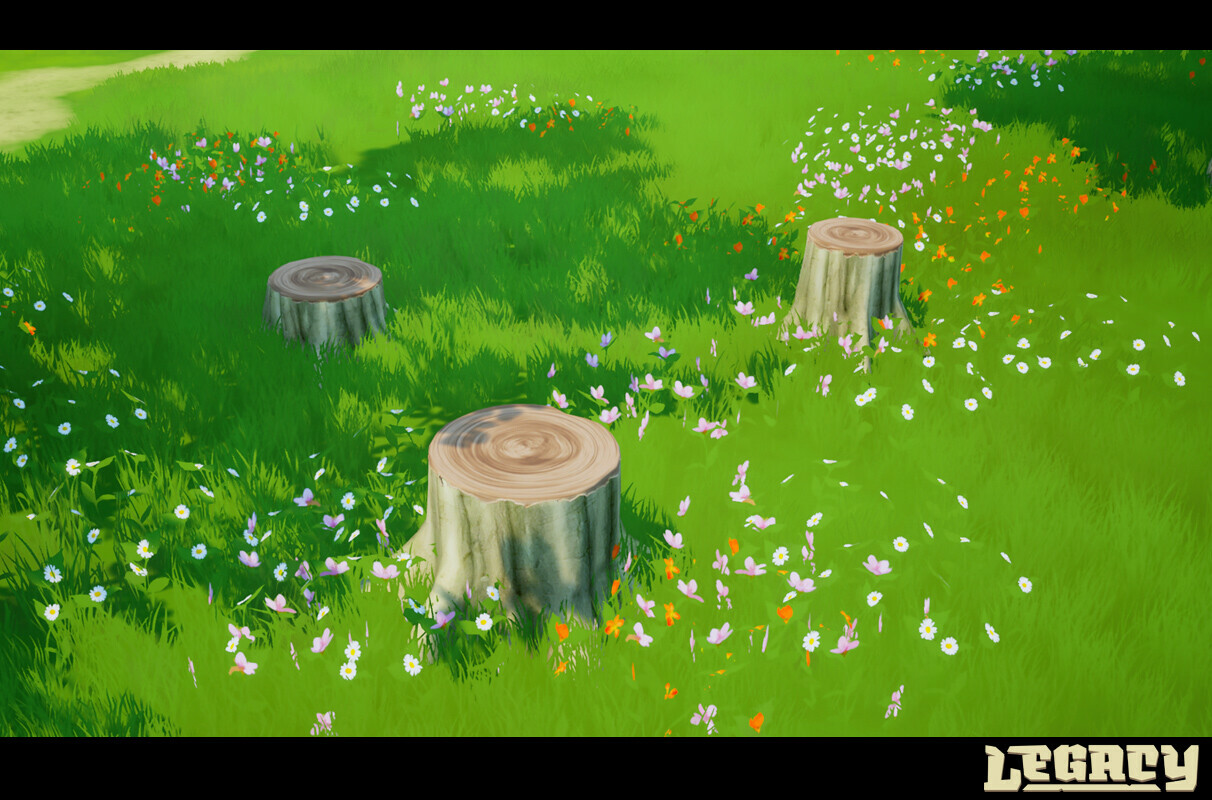 Some of the tree trunk stumps .