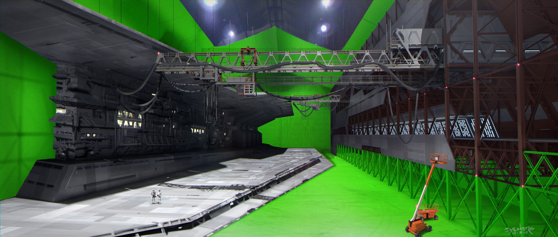 Once again the same shot rendered to preview the set at Cardington. Look at the scale of Stormtroopers for an idea just how big this stage is!!