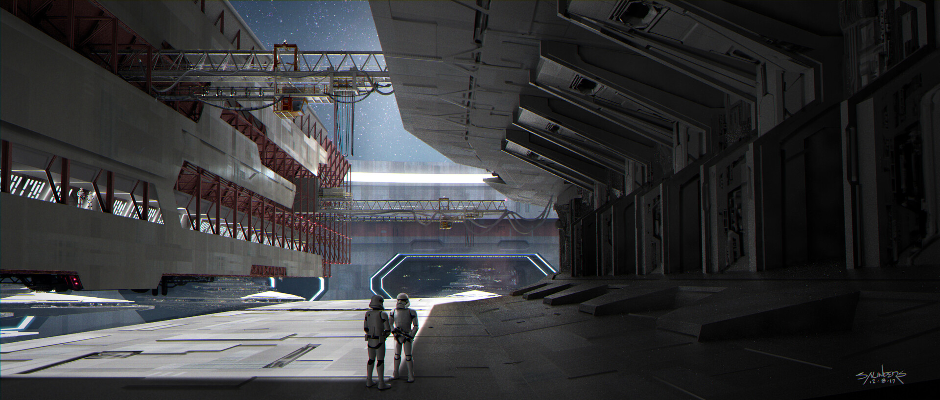 "View looking out to identical bays across the cylindrical factory station. Do a search for David ""Vyle"" Levy's awesome designs for the factory as a whole."