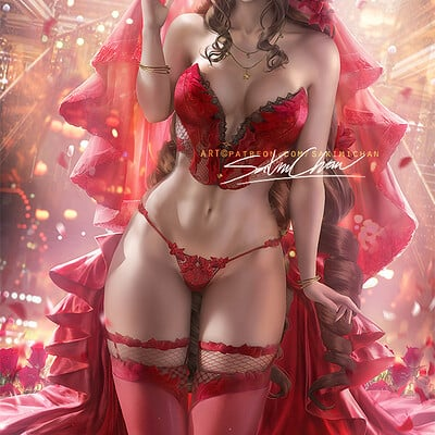 Sakimi chan aerith red gown lingery full