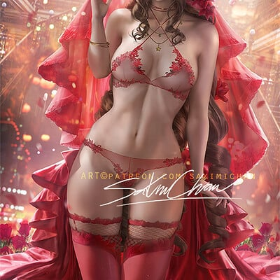 Sakimi chan aerith red gown lingery nsfw 01