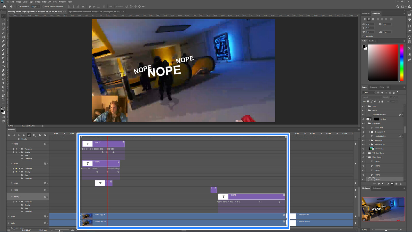 """The """"Nope Squad"""" visual effect within Photoshop video editor"""