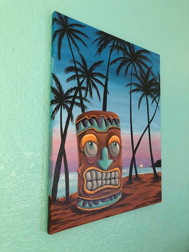 Smiley Tiki  Acrylic on 16x20 canvas.