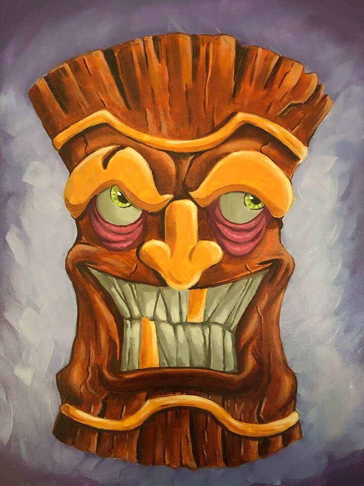 Mean Tiki Oil on 16x20 canvas.