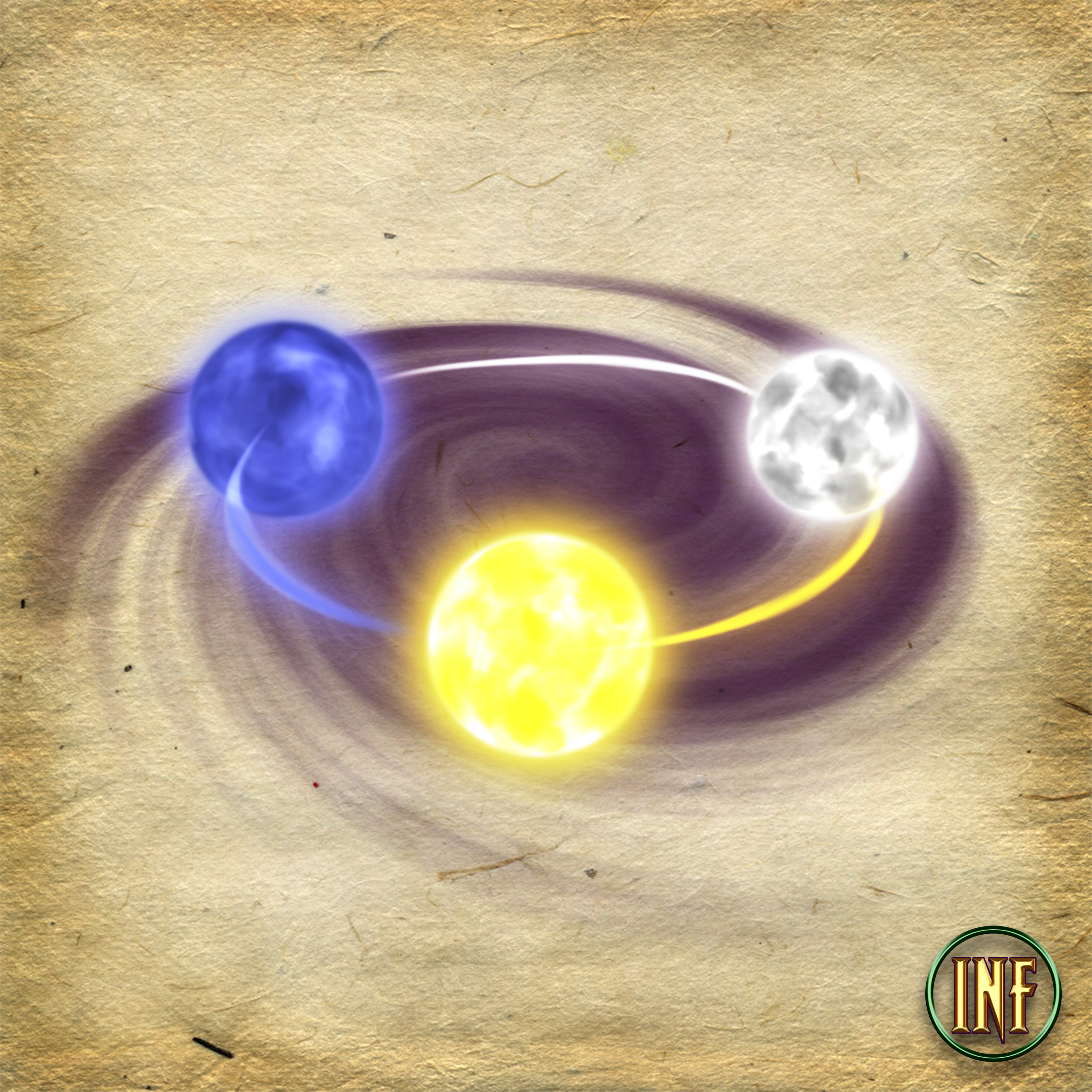 Interior Art 2- Three moons that hover around a paladin of the eclipse