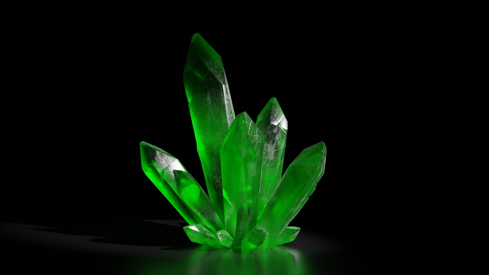 A higher quality 1080 render of the green crystal.