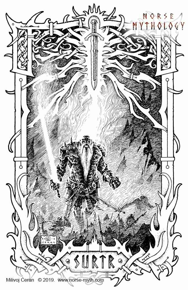 """Surtr"" © Milivoj Ćeran 2019. - 17x11 inches - archival ink on paper  Full page illustration for the upcoming ""Gate to Valhalla"" book by Milivoj Ćeran."