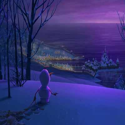 Olaf Looking Over Arendelle