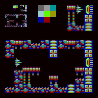 Original tileset, including the 9 tile tileset, and 9 colour colour palette