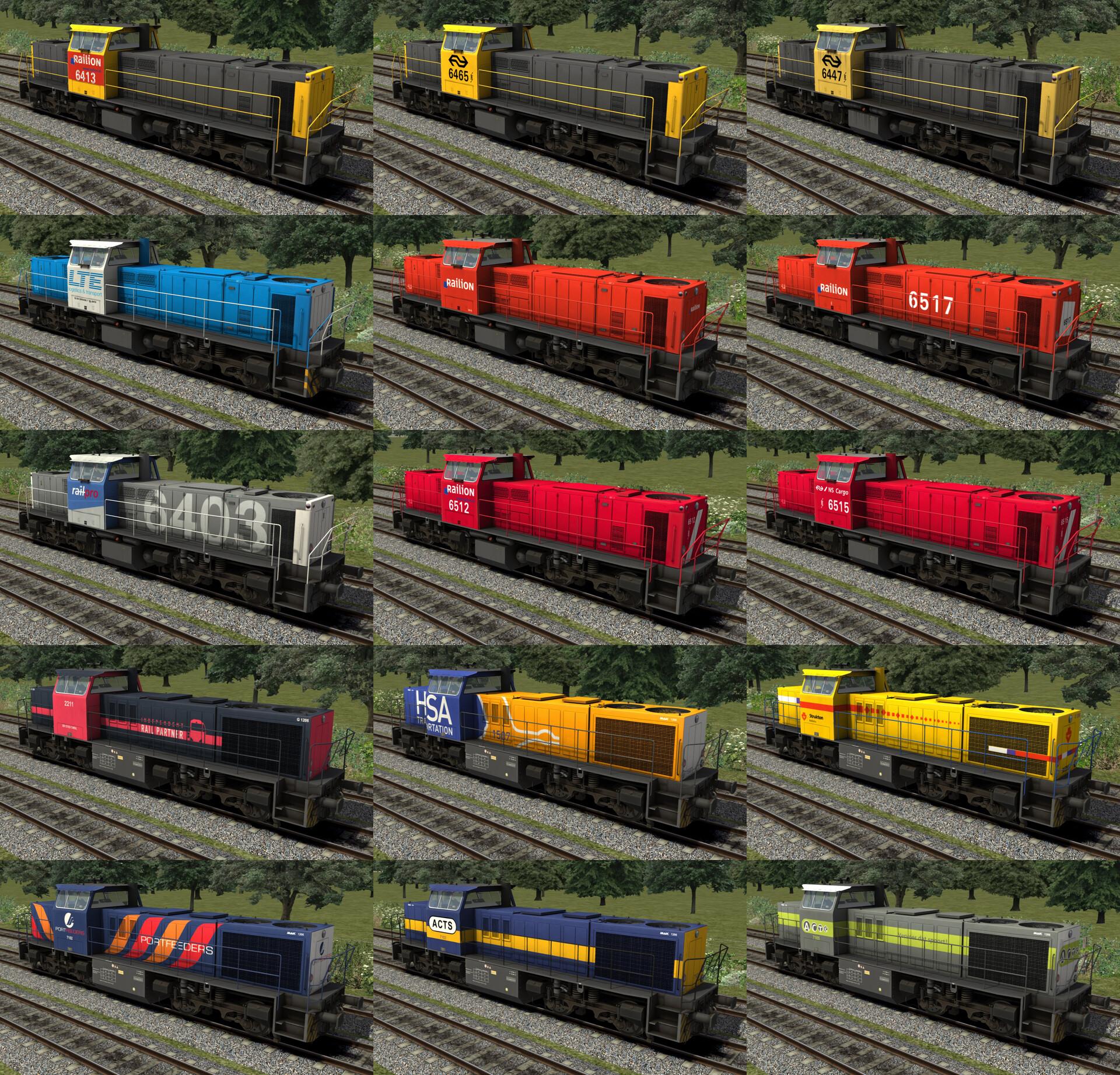 All 9 derivatives of the 6400 locomotive plus 6 MaK g1206 derivatives.